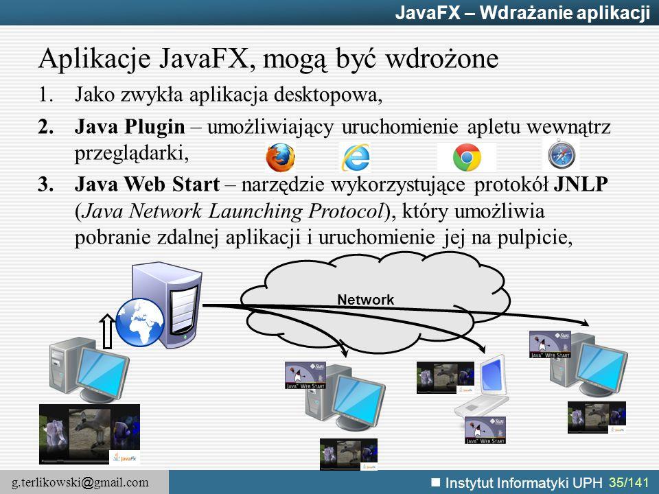 Aplikacje JavaFX, mogą być wdrożone
