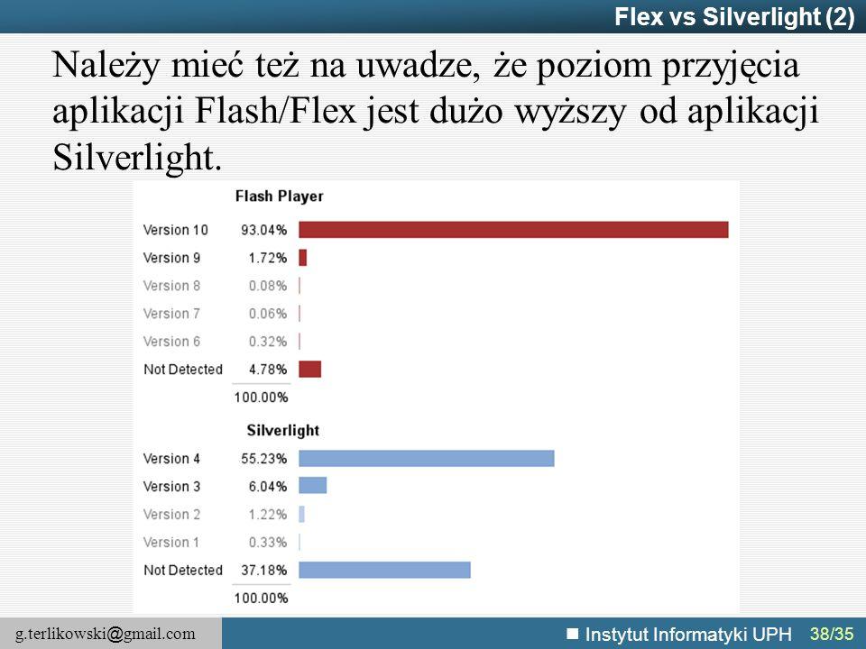 Flex vs Silverlight (2) Należy mieć też na uwadze, że poziom przyjęcia aplikacji Flash/Flex jest dużo wyższy od aplikacji Silverlight.