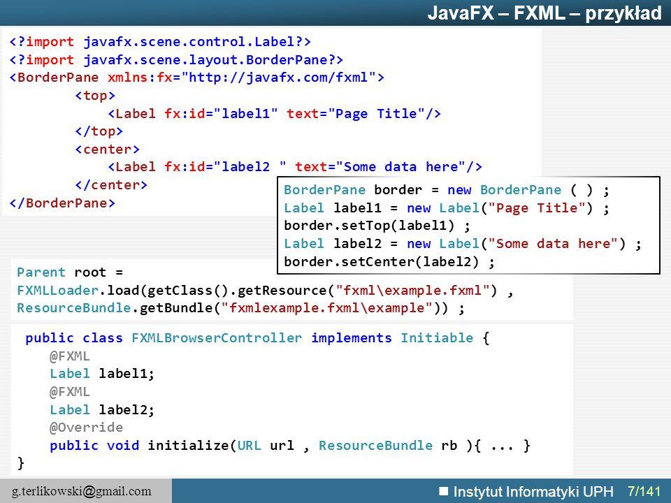 JavaFX – FXML – przykład