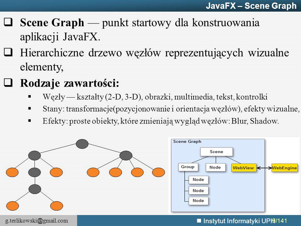 Scene Graph — punkt startowy dla konstruowania aplikacji JavaFX.
