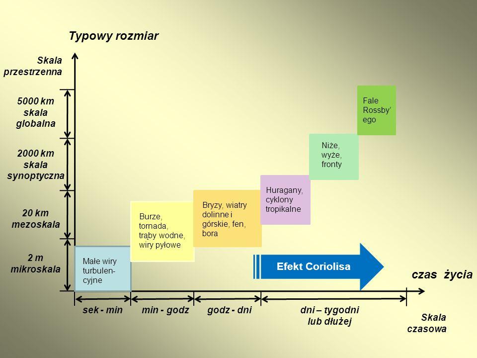 Typowy rozmiar czas życia Efekt Coriolisa Skala przestrzenna 5000 km