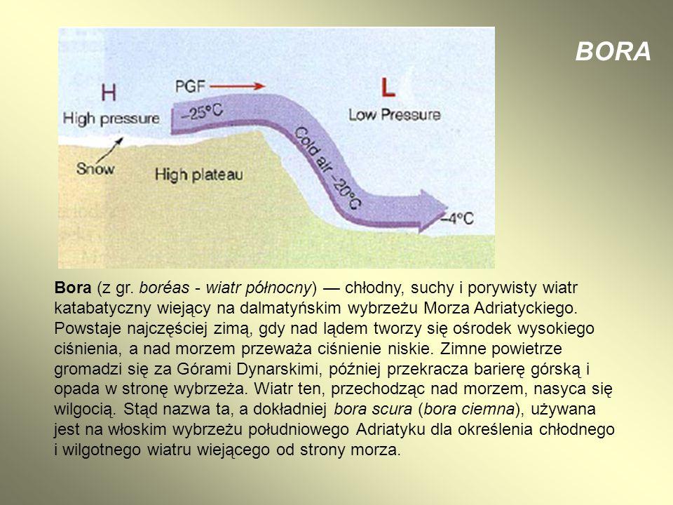 BORA Bora (z gr. boréas - wiatr północny) — chłodny, suchy i porywisty wiatr katabatyczny wiejący na dalmatyńskim wybrzeżu Morza Adriatyckiego.