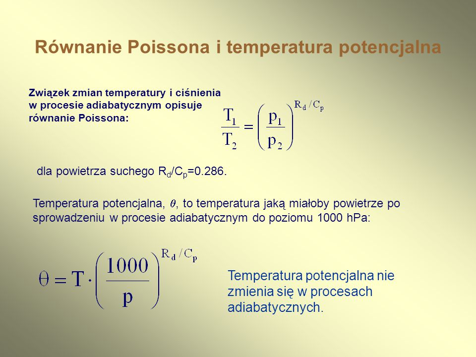 Równanie Poissona i temperatura potencjalna