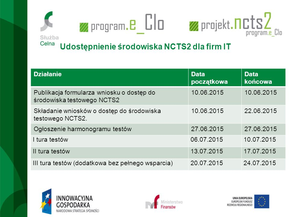 Udostępnienie środowiska NCTS2 dla firm IT