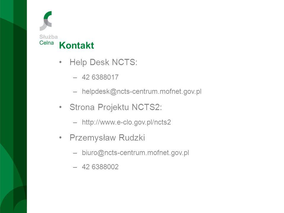Kontakt Help Desk NCTS: Strona Projektu NCTS2: Przemysław Rudzki