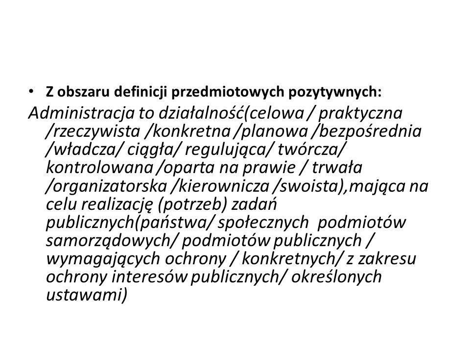 Z obszaru definicji przedmiotowych pozytywnych: