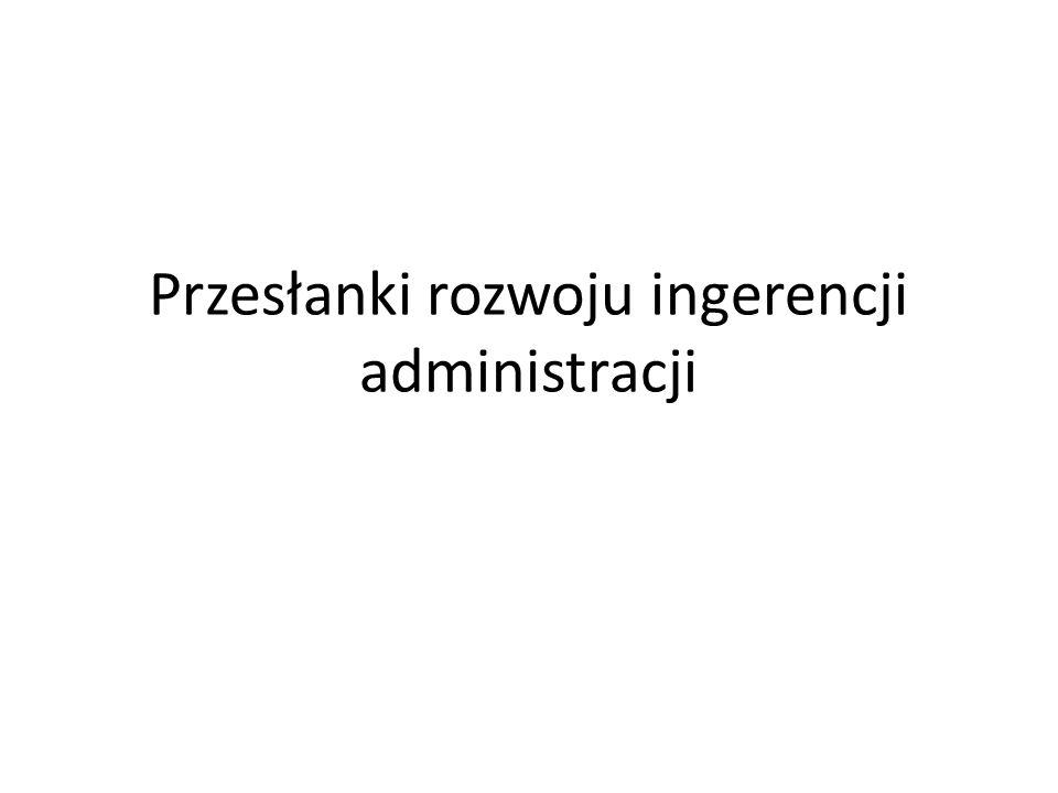 Przesłanki rozwoju ingerencji administracji