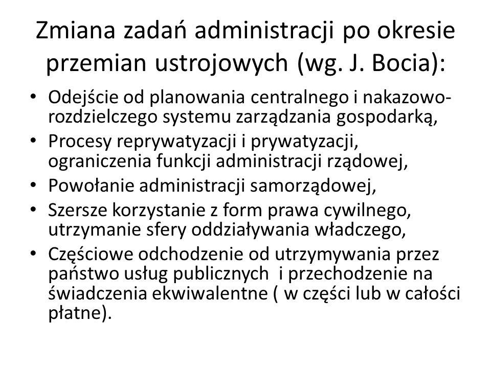 Zmiana zadań administracji po okresie przemian ustrojowych (wg. J