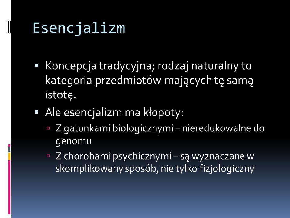 Esencjalizm Koncepcja tradycyjna; rodzaj naturalny to kategoria przedmiotów mających tę samą istotę.