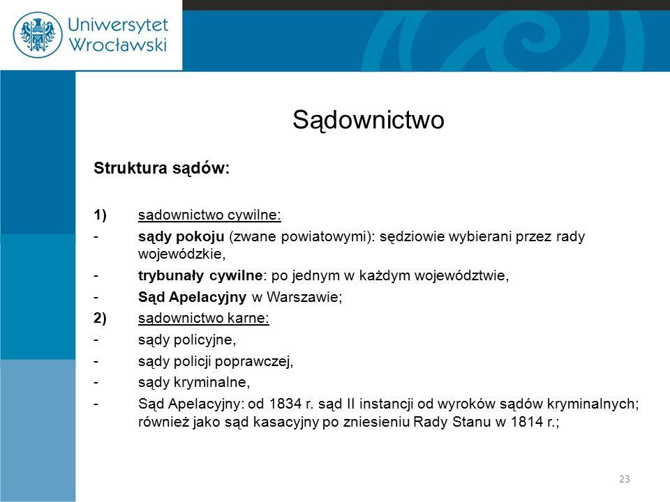 Sądownictwo Struktura sądów: 1) sądownictwo cywilne: