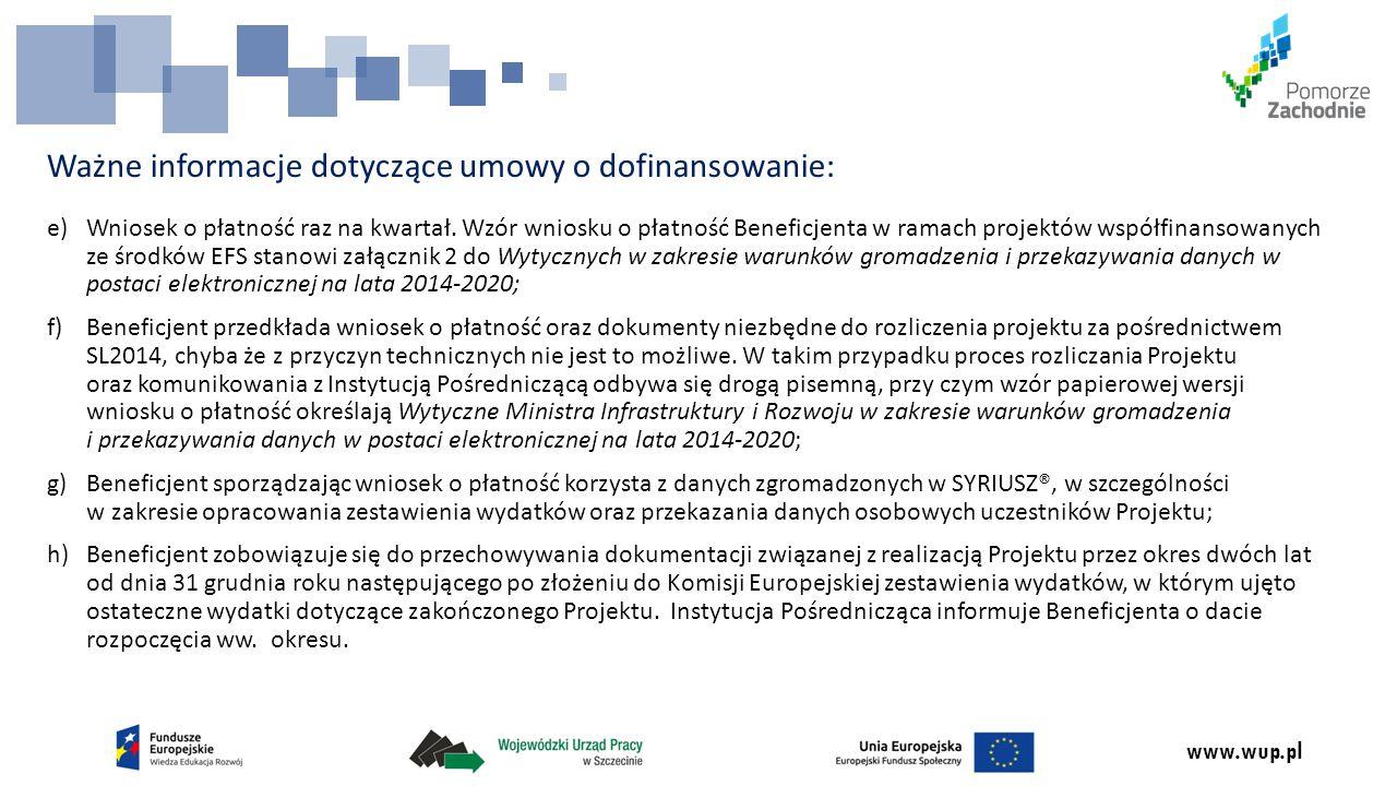 Ważne informacje dotyczące umowy o dofinansowanie:
