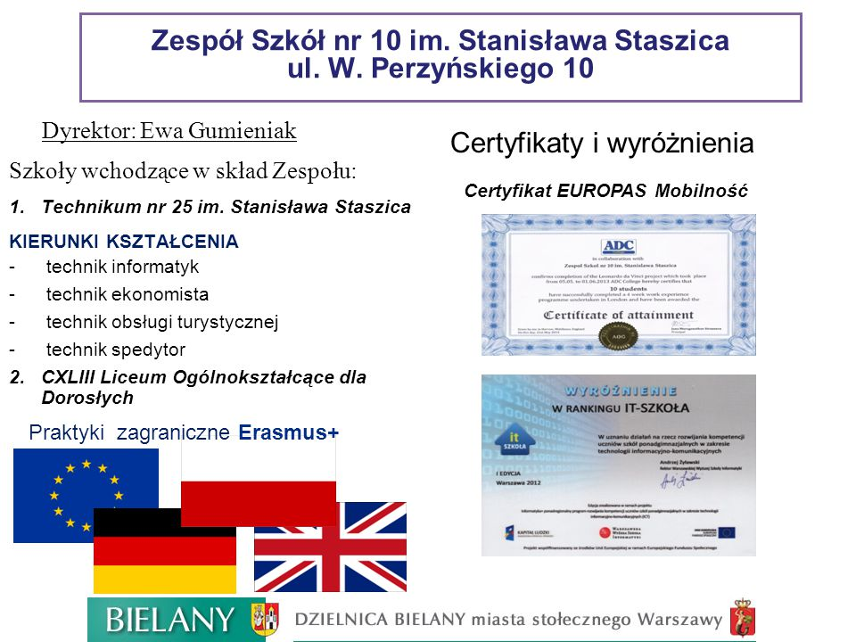 Zespół Szkół nr 10 im. Stanisława Staszica ul. W. Perzyńskiego 10