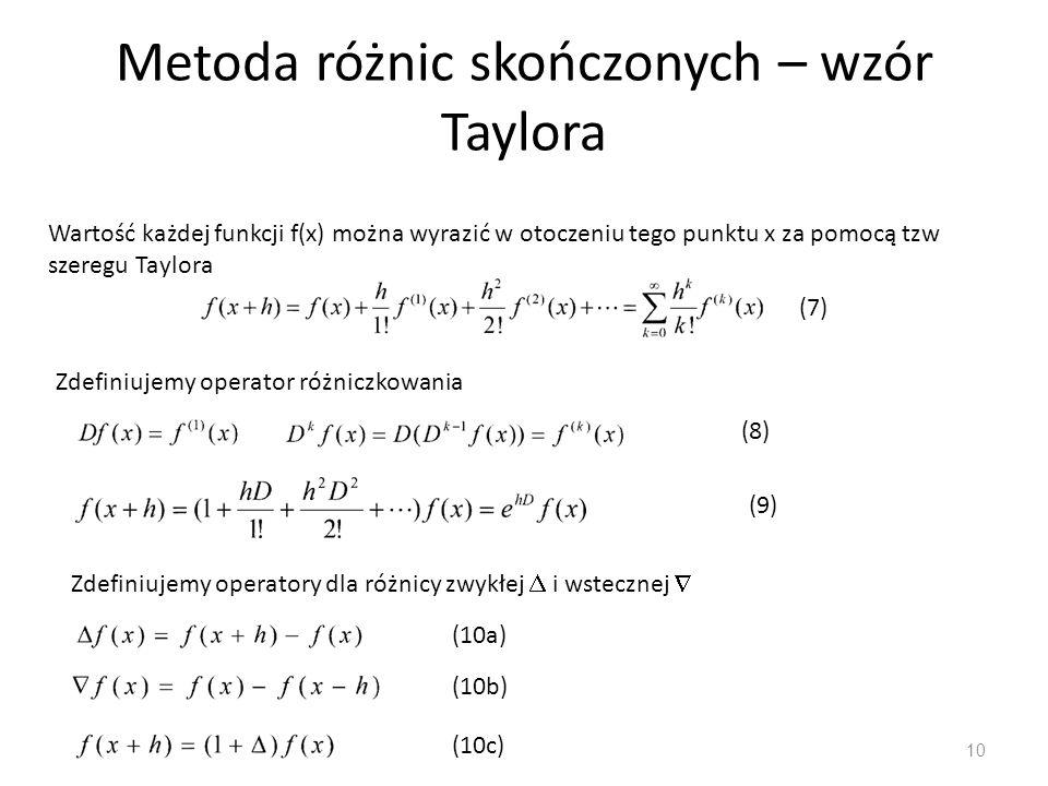 Metoda różnic skończonych – wzór Taylora