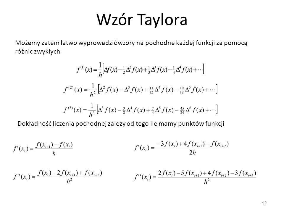 Wzór Taylora Możemy zatem łatwo wyprowadzić wzory na pochodne każdej funkcji za pomocą różnic zwykłych.