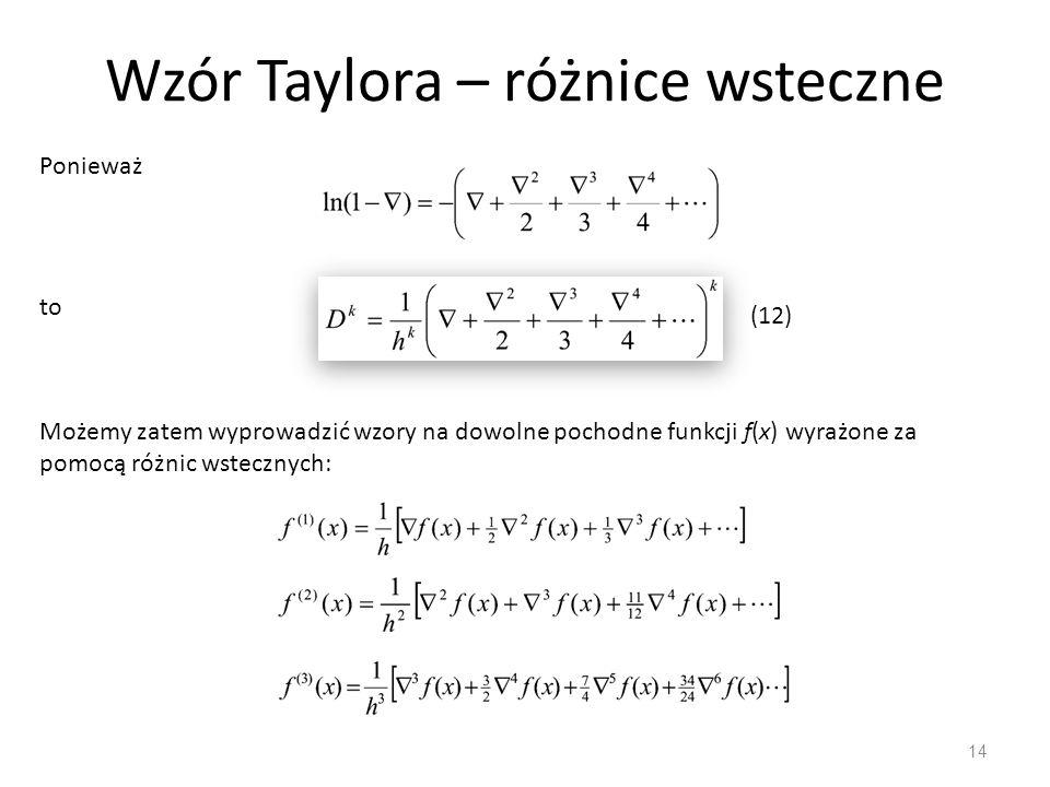 Wzór Taylora – różnice wsteczne