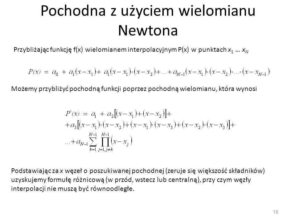 Pochodna z użyciem wielomianu Newtona