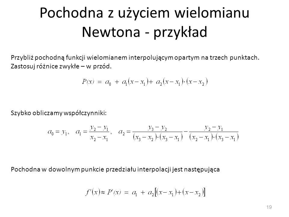 Pochodna z użyciem wielomianu Newtona - przykład