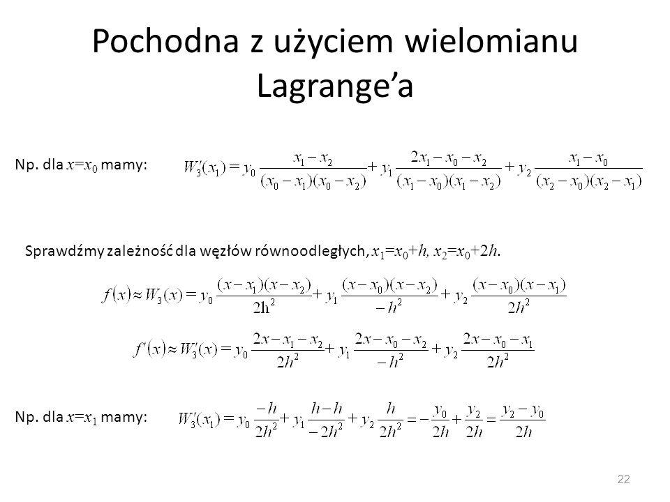 Pochodna z użyciem wielomianu Lagrange'a