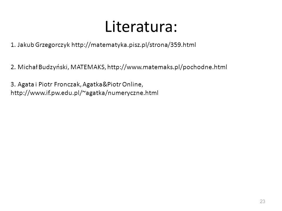 Literatura: 1. Jakub Grzegorczyk http://matematyka.pisz.pl/strona/359.html. 2. Michał Budzyński, MATEMAKS, http://www.matemaks.pl/pochodne.html.