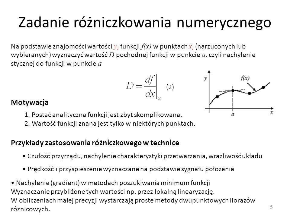 Zadanie różniczkowania numerycznego