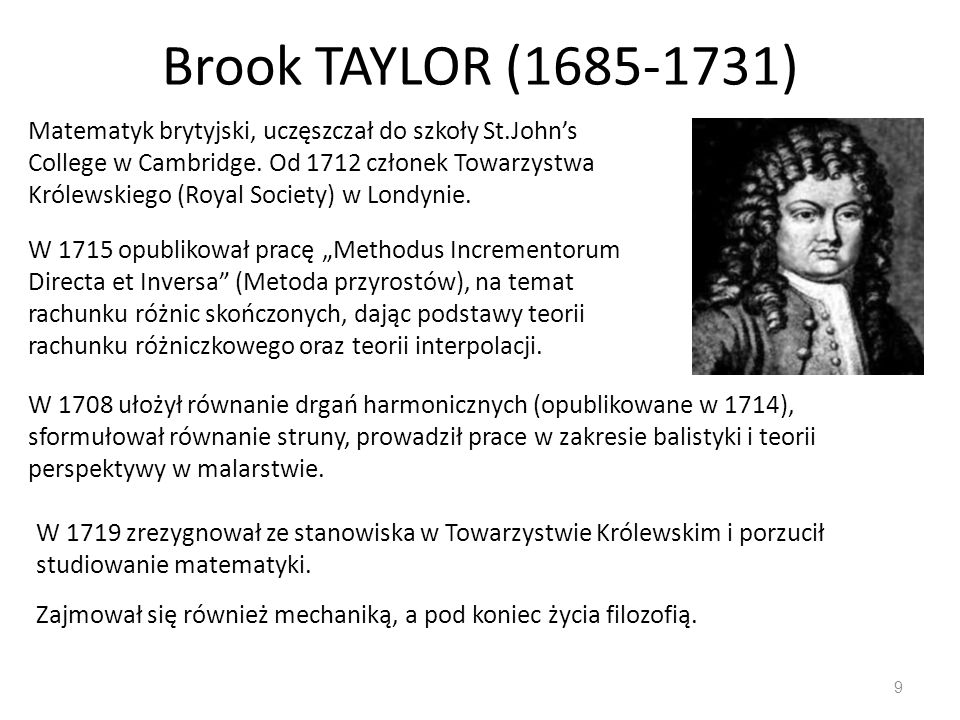 Brook TAYLOR (1685-1731)