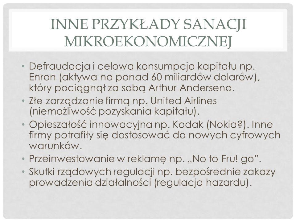 Inne przykłady sanacji mikroekonomicznej