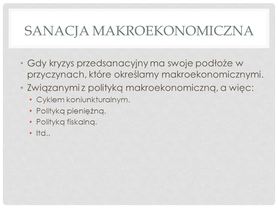 Sanacja Makroekonomiczna
