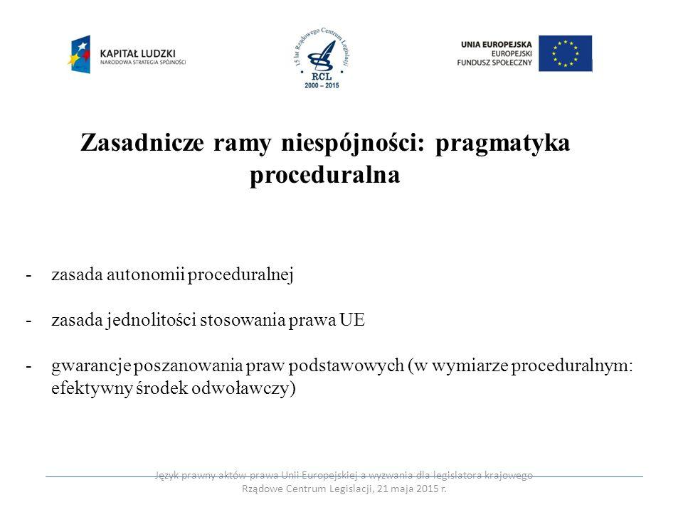Zasadnicze ramy niespójności: pragmatyka proceduralna