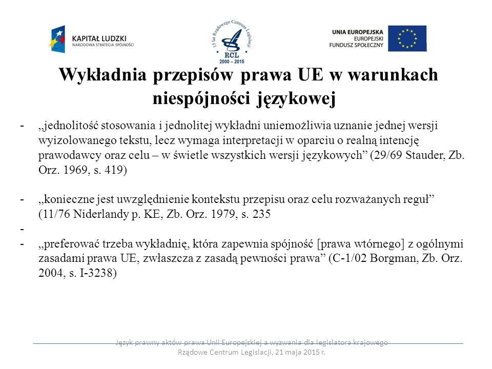 Wykładnia przepisów prawa UE w warunkach niespójności językowej