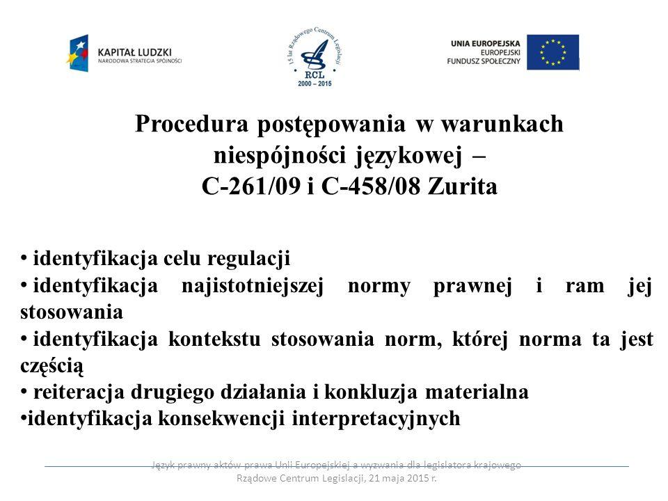 Procedura postępowania w warunkach niespójności językowej –