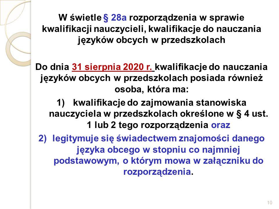 W świetle § 28a rozporządzenia w sprawie kwalifikacji nauczycieli, kwalifikacje do nauczania języków obcych w przedszkolach