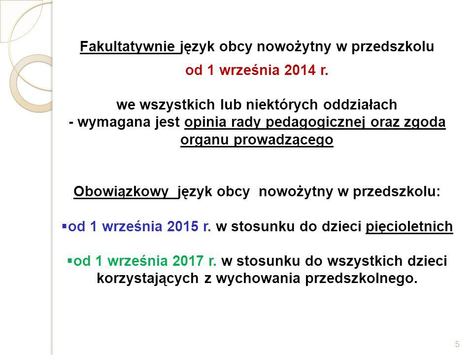 Fakultatywnie język obcy nowożytny w przedszkolu od 1 września 2014 r.