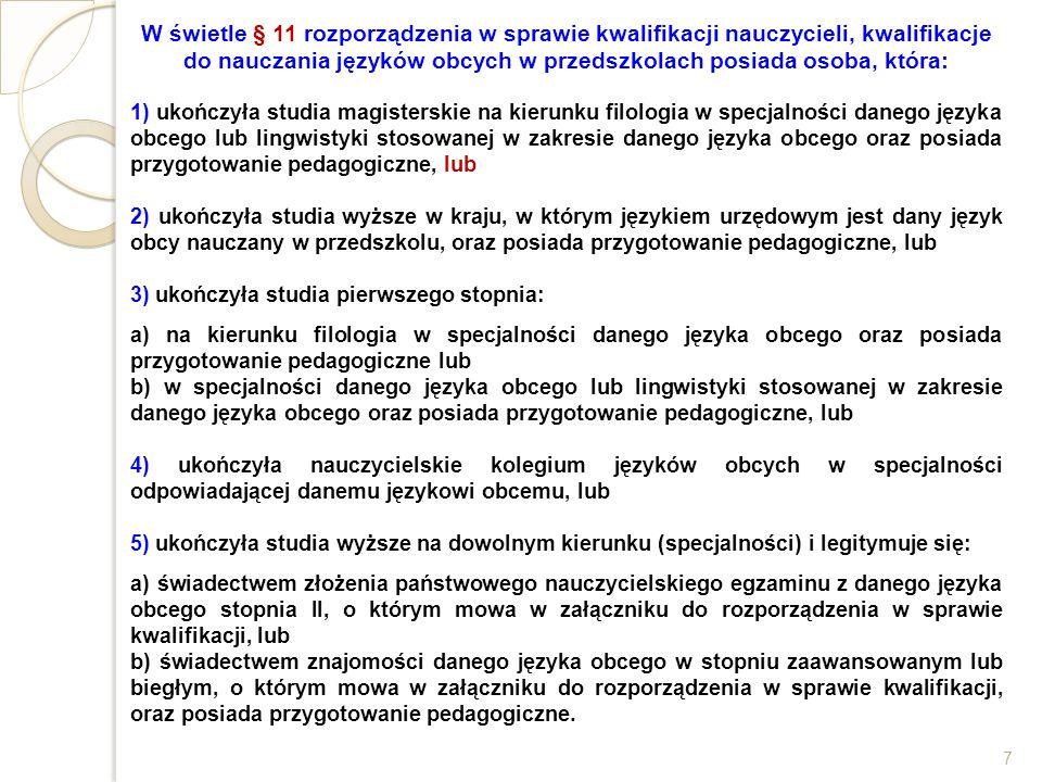 W świetle § 11 rozporządzenia w sprawie kwalifikacji nauczycieli, kwalifikacje do nauczania języków obcych w przedszkolach posiada osoba, która: