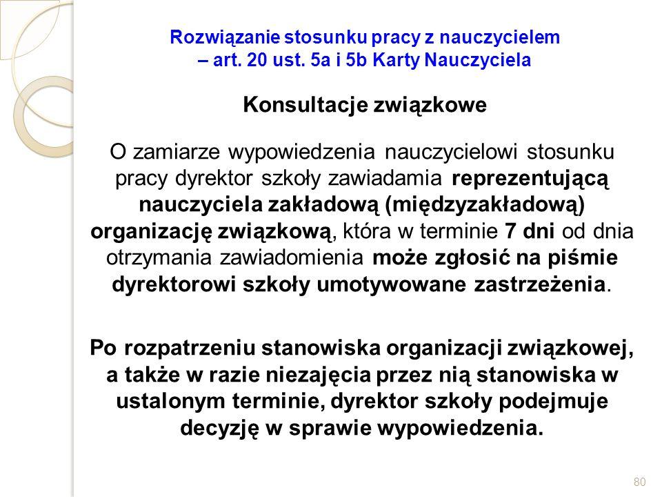 Rozwiązanie stosunku pracy z nauczycielem – art. 20 ust