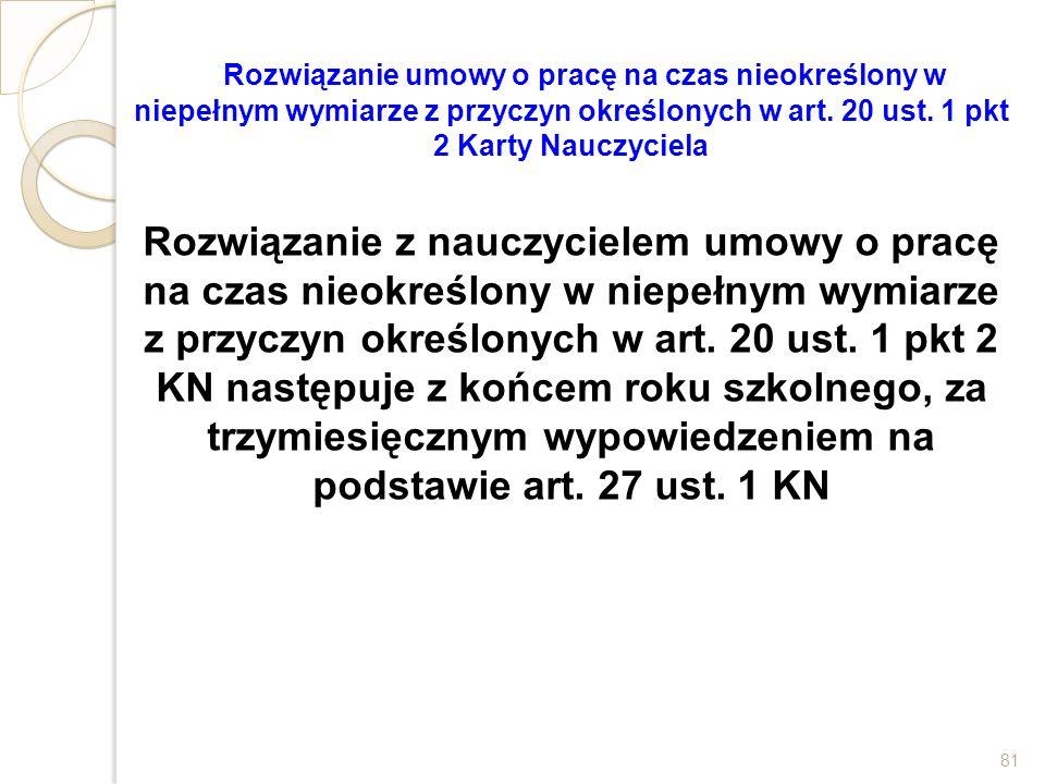 Rozwiązanie umowy o pracę na czas nieokreślony w niepełnym wymiarze z przyczyn określonych w art. 20 ust. 1 pkt 2 Karty Nauczyciela
