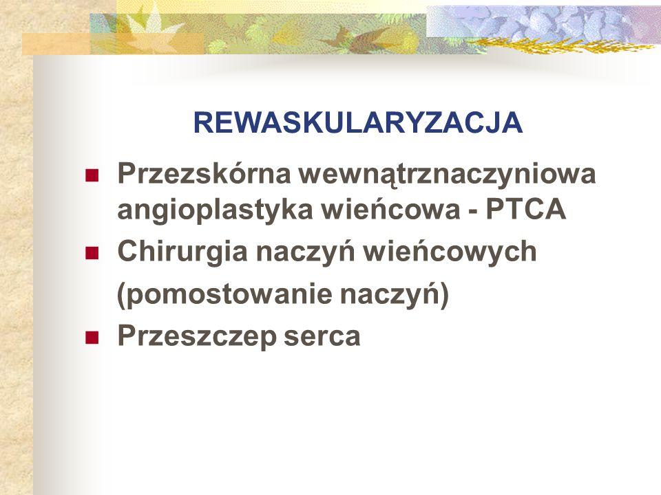 REWASKULARYZACJA Przezskórna wewnątrznaczyniowa angioplastyka wieńcowa - PTCA. Chirurgia naczyń wieńcowych.