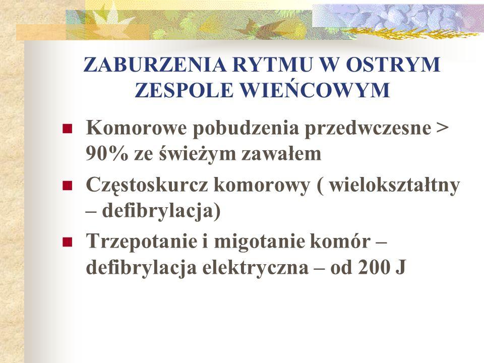 ZABURZENIA RYTMU W OSTRYM ZESPOLE WIEŃCOWYM