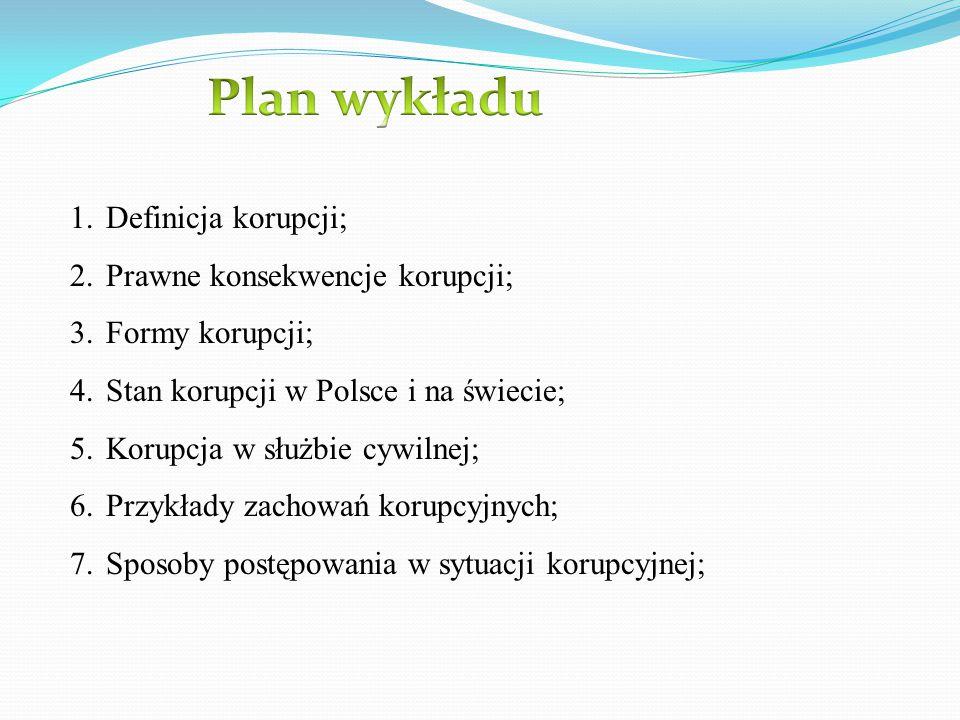 Plan wykładu Definicja korupcji; Prawne konsekwencje korupcji;
