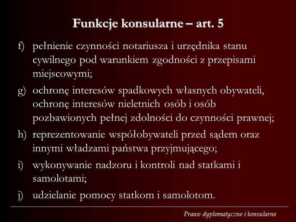 Funkcje konsularne – art. 5