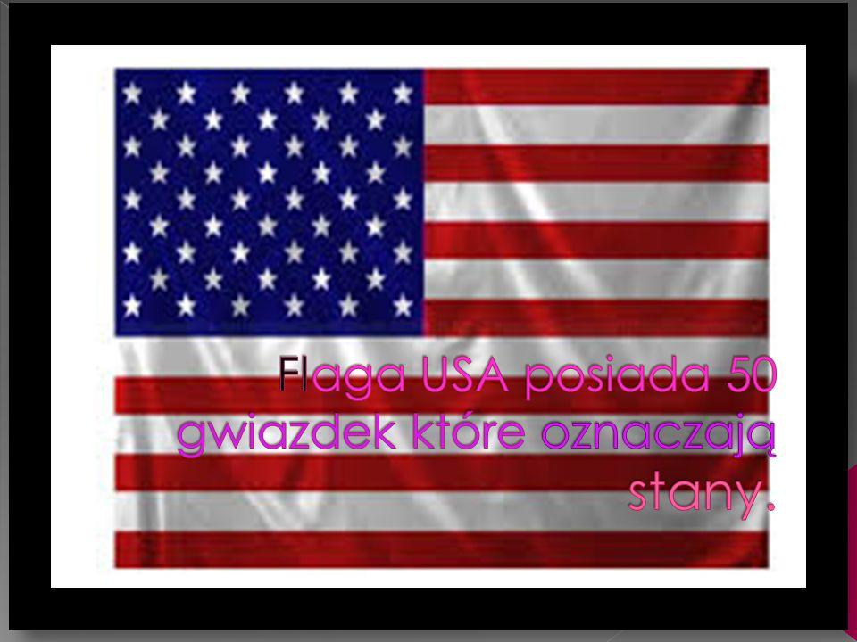 Flaga USA posiada 50 gwiazdek które oznaczają stany.