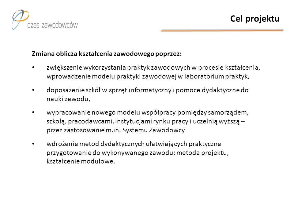 Cel projektu Zmiana oblicza kształcenia zawodowego poprzez: