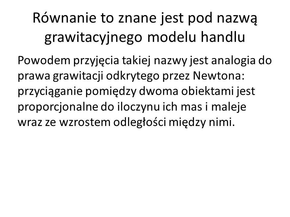 Równanie to znane jest pod nazwą grawitacyjnego modelu handlu