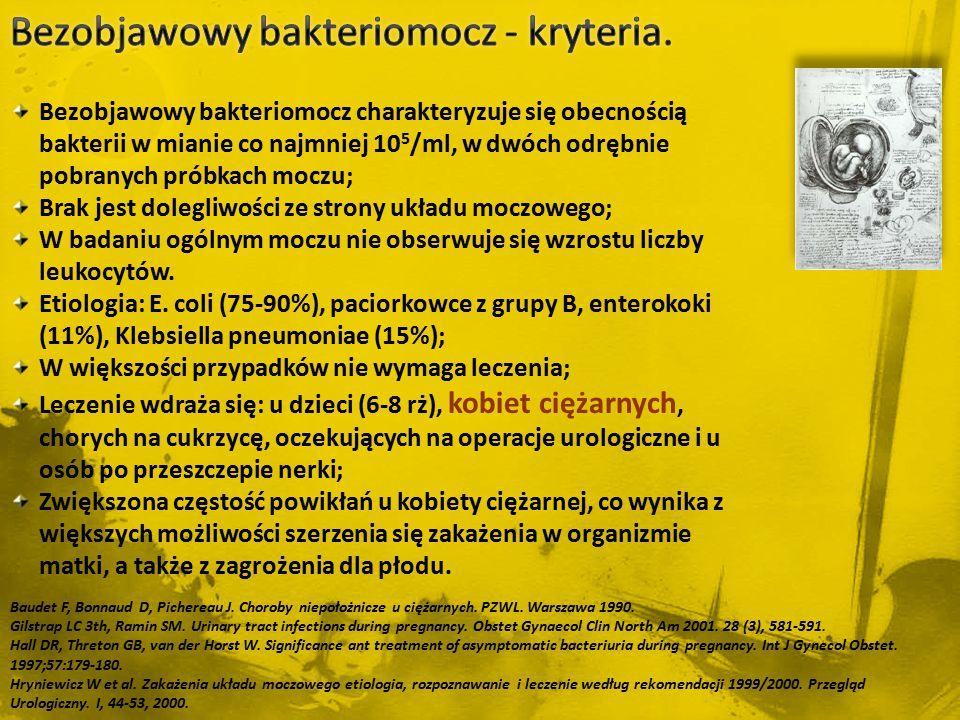 Bezobjawowy bakteriomocz - kryteria.