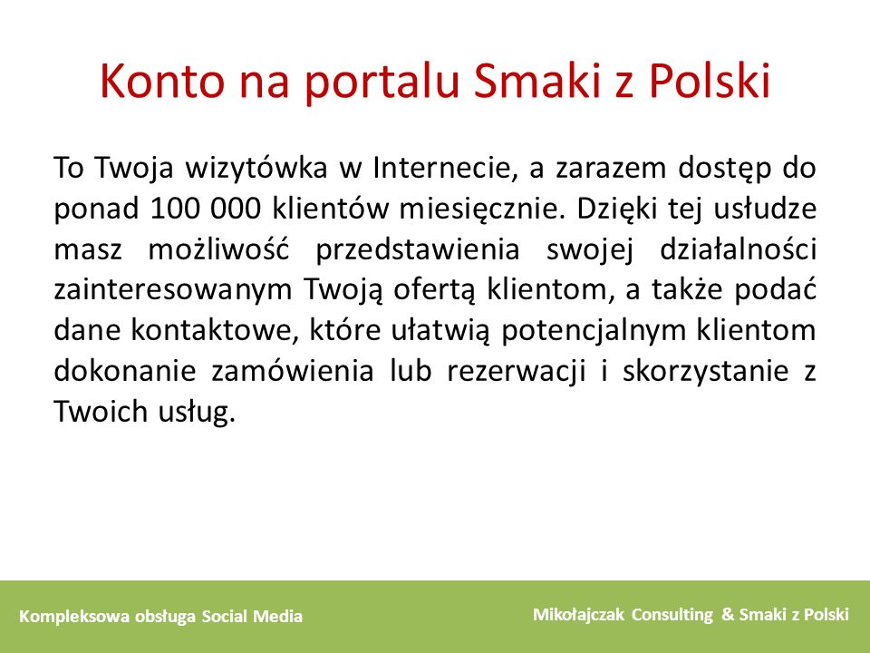 Konto na portalu Smaki z Polski