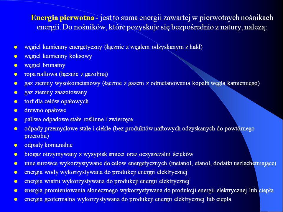 Energia pierwotna - jest to suma energii zawartej w pierwotnych nośnikach energii. Do nośników, które pozyskuje się bezpośrednio z natury, należą:
