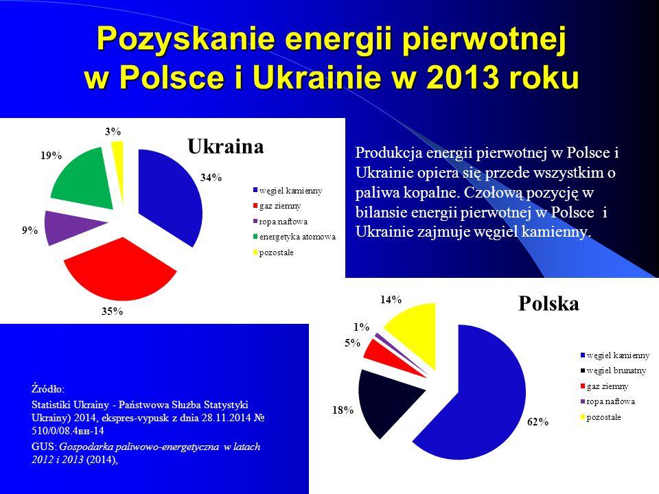 Pozyskanie energii pierwotnej w Polsce i Ukrainie w 2013 roku