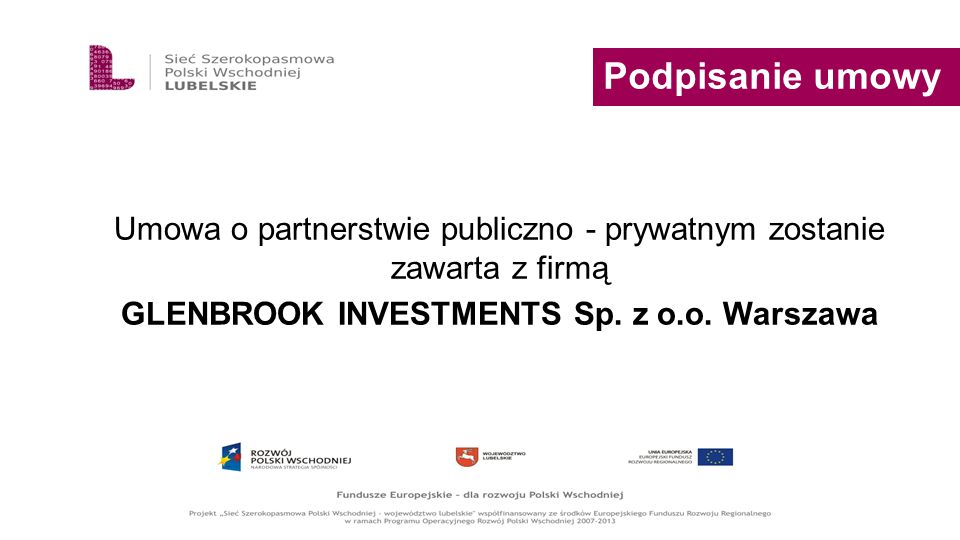 GLENBROOK INVESTMENTS Sp. z o.o. Warszawa