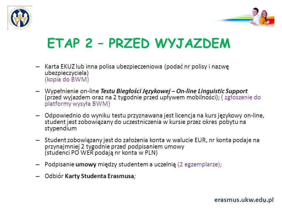 ETAP 2 – PRZED WYJAZDEM erasmus.ukw.edu.pl