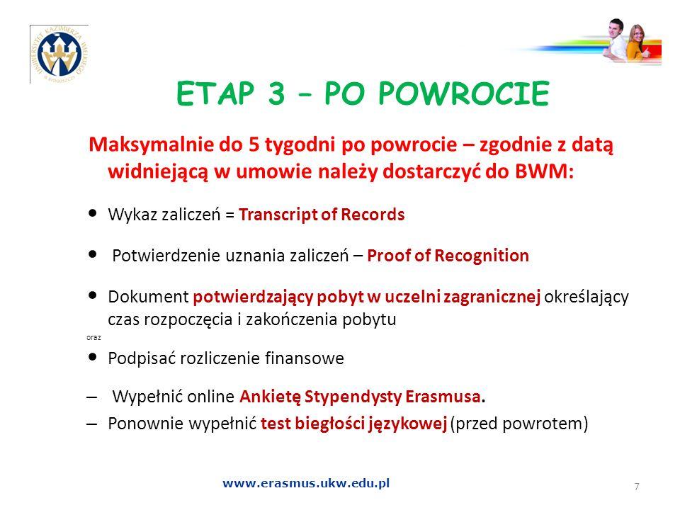 ETAP 3 – PO POWROCIE Wykaz zaliczeń = Transcript of Records