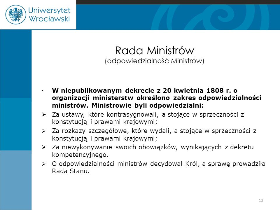 Rada Ministrów (odpowiedzialność Ministrów)